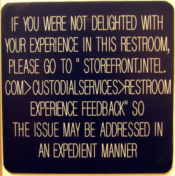 Experience bathroom warning sign