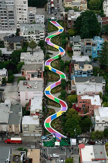 Candyland celebration in SF (airial view)